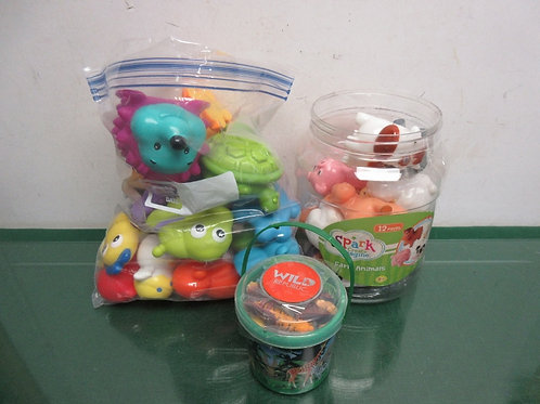 Set of 3 groups of animal sets - squeaky, farm animals and mini wild animal play