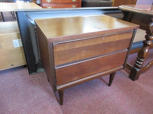 "Mid Century modern dark tone night stand with 2 drawers, 24x15x23""high"