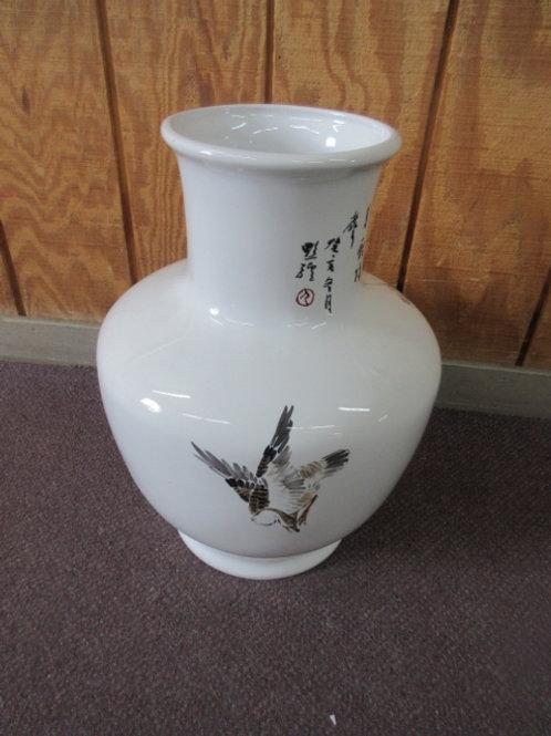 Large white asian vase