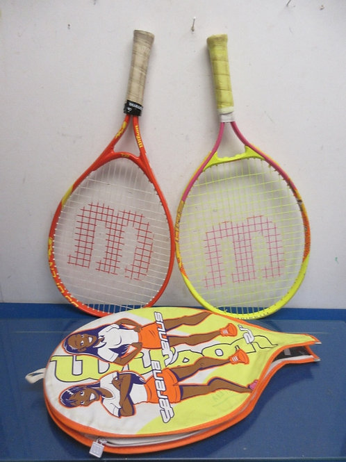 """Pair of short handle 21"""" rackets for picnic play"""