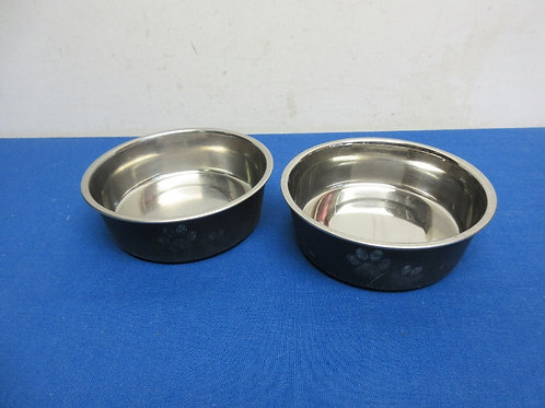 Pair of stainless small pet bowls with non skid bottoms