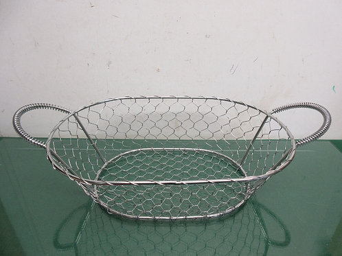 "Oval silver metal double handle basket 10x14x14"""