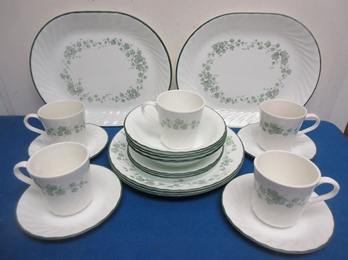 Corelle 21 pc dinnerware - green ivy design