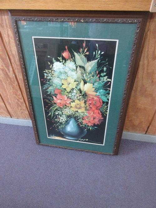 "Flower bouquet in vase, green mat, bronze tone frame, 27x40"""