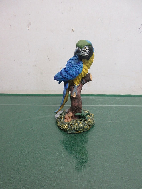 "Blue resin parrot statue 6""tall"