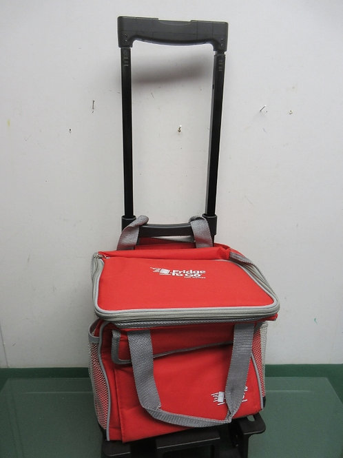 Red Fridge to go thermos bag on wheels w/insert in lid to freeze