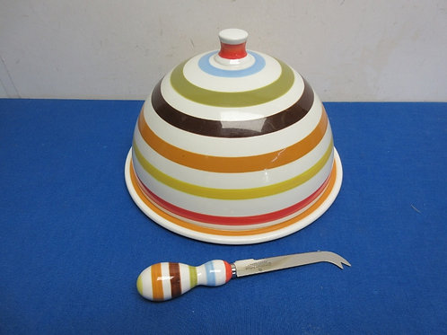 Johnathan Adler italia pottery cheese plate  & dome, striped design/matching kni