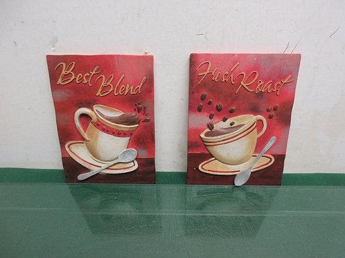 "Two ceramic coffee plaques ""Best Blend"" & Fresh Roast"", each 4.5"" x 6.5"""