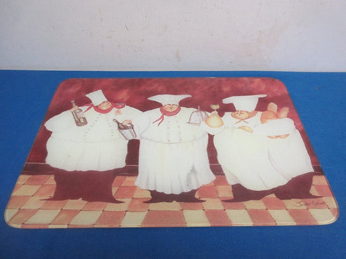 """Large glass cutting board with chef décor, 12x18"""""""