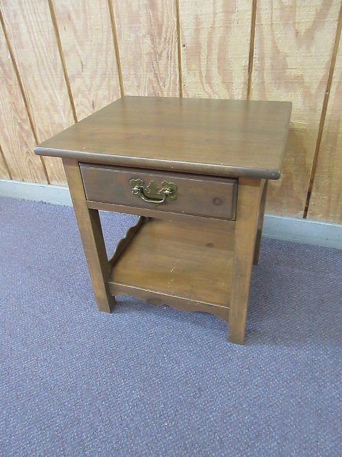 Pine small nightstand with drawer & bottom shelf, scroll design trim