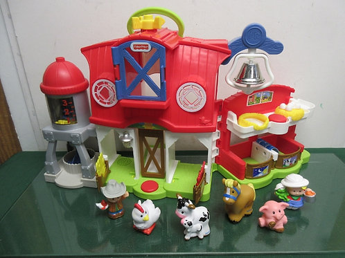 Fisher Price Little People barn with silo, bell, and 6 people & animals