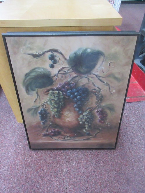 Print of vase with grapes and leaves, 17x20