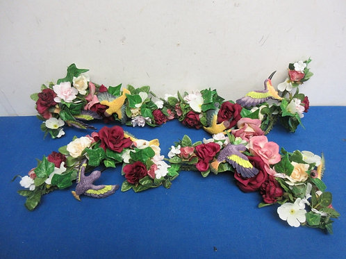 Set of 4 small flower swags with birds