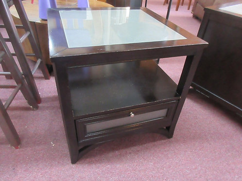 """Black square end table with one drawer, shelf and opaque glass top 24x24x24"""" tal"""