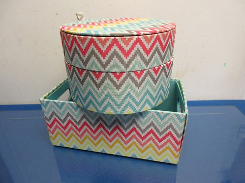 "Round 2 tier small hat box, 8""dia. X 5"" high & matching small tote 6x11x5"""