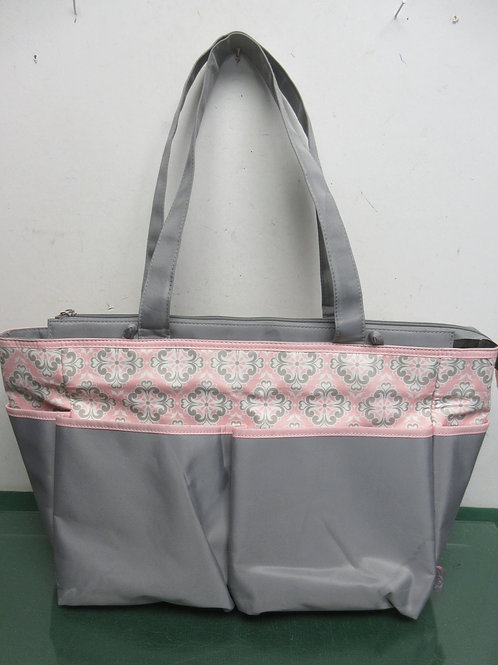 Gray and pink vinyl diaper bag tote with zipper closure