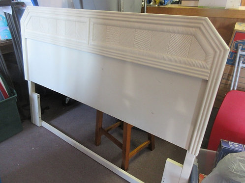 Queen size white wooden headboard