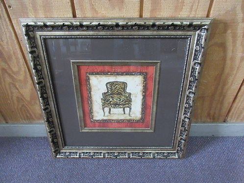 """Print of zebra style arm chair with layered mats in gold frame 22x22"""""""