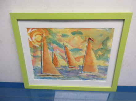 Original water color, sailboats on the lake,white mat,lime green frame 12x15