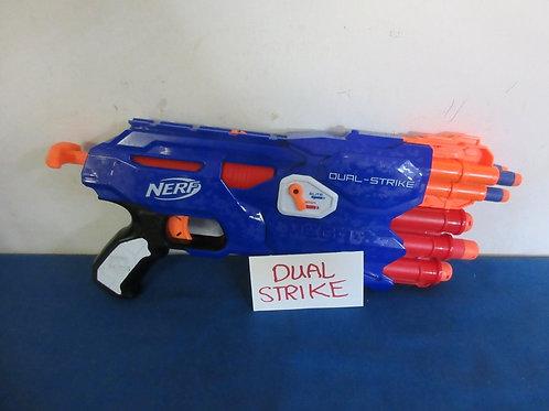 Nerf blue dual strike gun shoots regular or mega darts - some of each included