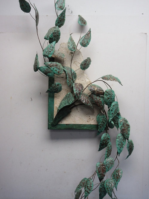 """Metal green leaf plant wall sculpture on a stone base 16x48"""""""
