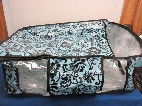 "Large blue & black floral print plastic storage bag, 20x25x10""deep, 3 available"