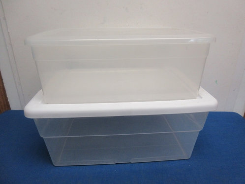"""Sterilite rectangular container, 9x13x7"""" deep, and small clear plastic container"""