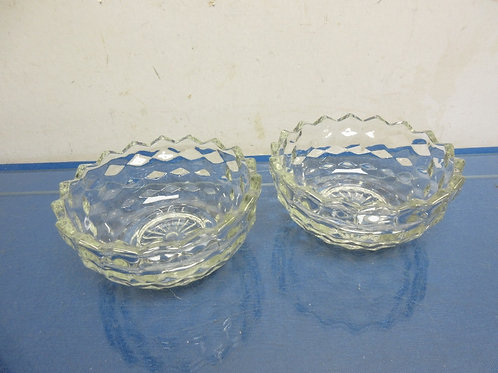 Pair of cut glass round dishes with zig zag edges, bowls  can interlok