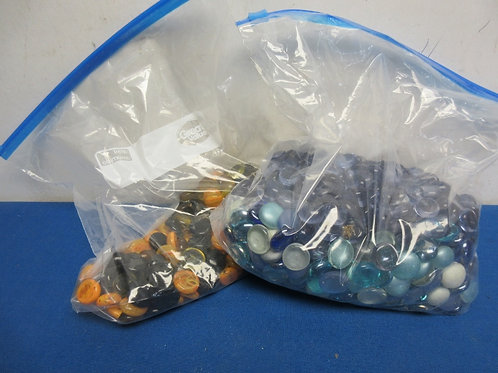 Two bags of decorative flat glass pieces