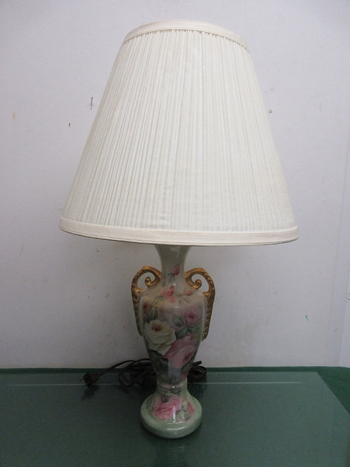 """Victorian green urn style table lamp with rose floral design&  ivory shade, 24"""""""