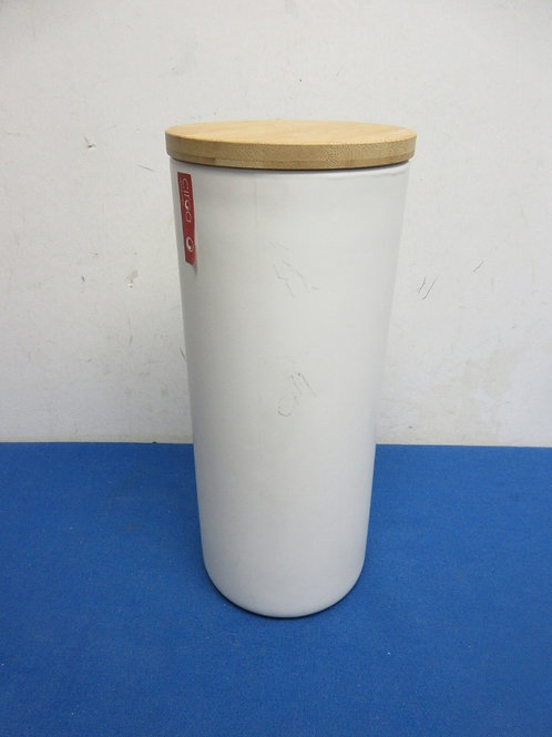 Circa Stoneware tall cylinder canister with sealing teak wood lid