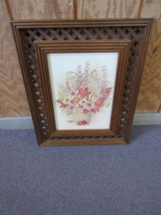 Print of fall flowers, 17x21, wood lattice frame