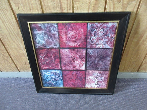 Kirklands wall art connected squares, shades of red, pink& purple, dark frame 28
