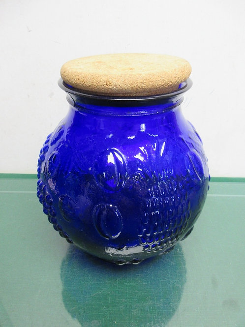 Large round blue glass jar with dimensional fruit design & cork lid - 3 avail