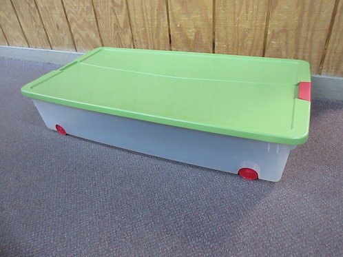 Sterilite clear under bed container on wheels with green lid