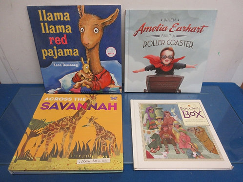 Set of 4 hardback story books, Benjamins box, Llama Llama Red Pajama, and 2 more