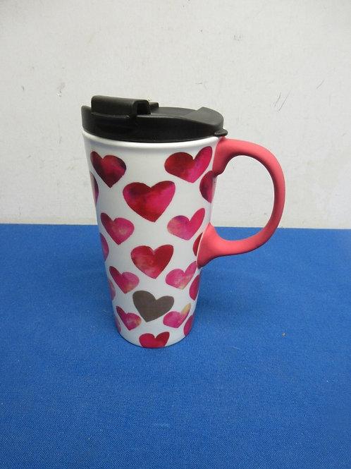 Ceramic travel mug, red hearts all over