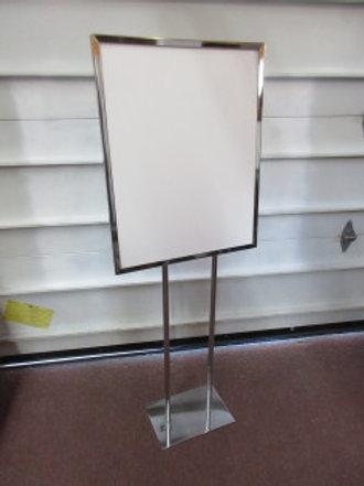 "Large chrome sign holder 60"" tall, holds 22x28"" sign"