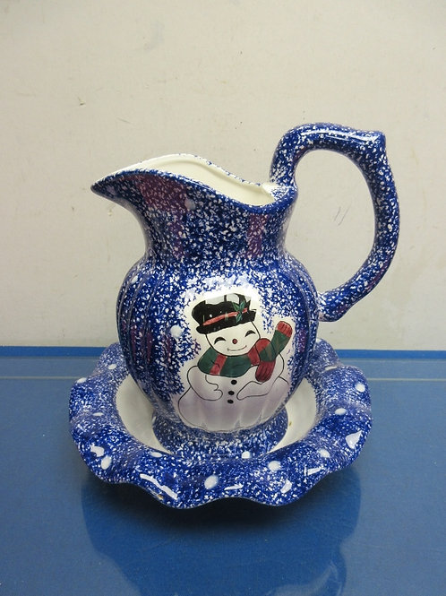 Blue sponge painted design pitcher and basin with snowman design