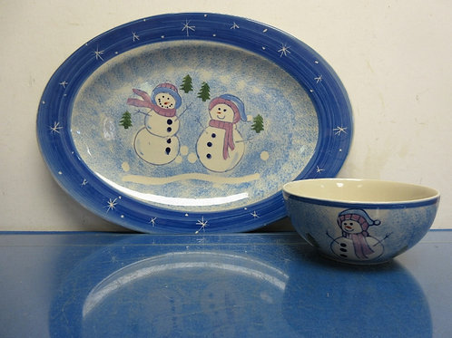 Large blue snowman platter and bowl, microwave, diswasher safe