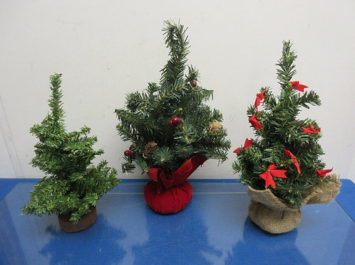 Set of 3 tabletop evergreen trees - different bases - some have bows