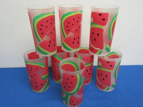 Set of 8 heavy plasic watermelon design tumblers