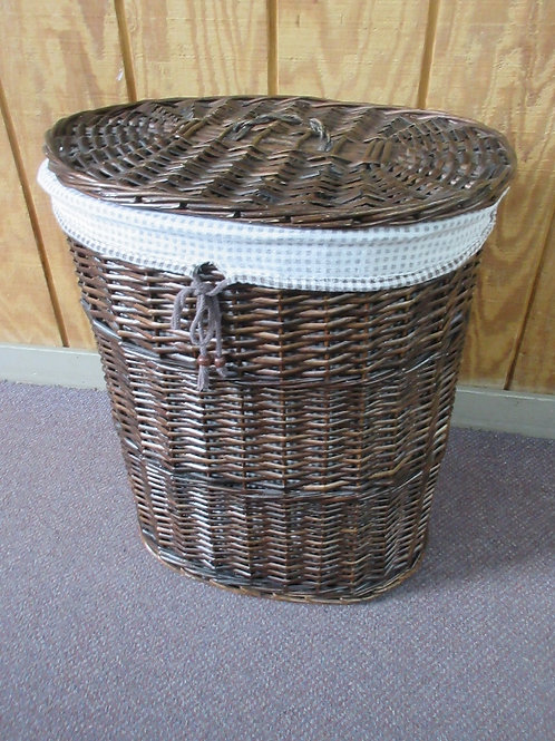 """Dark woven twig oval clothes hamper with liner and lid 13x19x23""""high"""