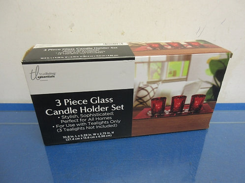 Red 3 pc glass candle holder set