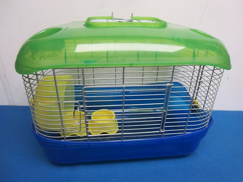 Hampster cage with spinning wheel - blue/green