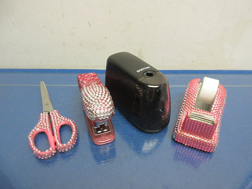 Pink bedazzled desk top accessories