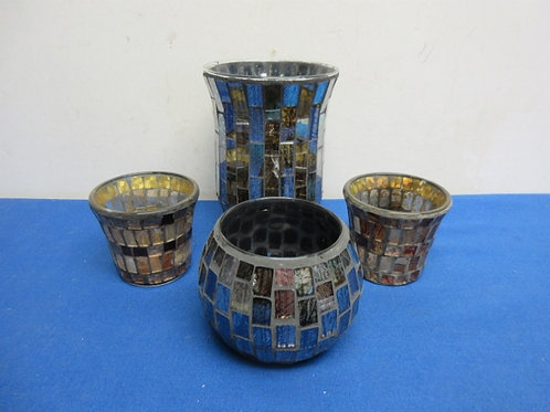 """Set of 4 mosaic candle holders, 3 medium and one 6"""" high"""