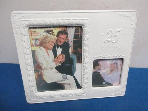 White resin 2 photo slot, 25th anniversary frame