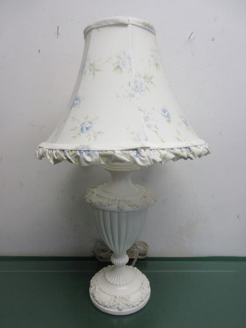 "White Victorian bed side lamp with floral shade, 21"" tall"
