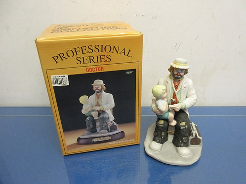 "Emmett Kelly Jr. Signature collection ""doctor"" clown statue on wooden base"